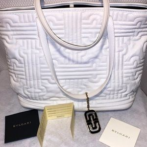 BVLGARI White Leather Double Top Handle Hand Bag